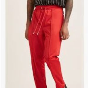 Forever 21 Men's Large Piped Track Pants - Red